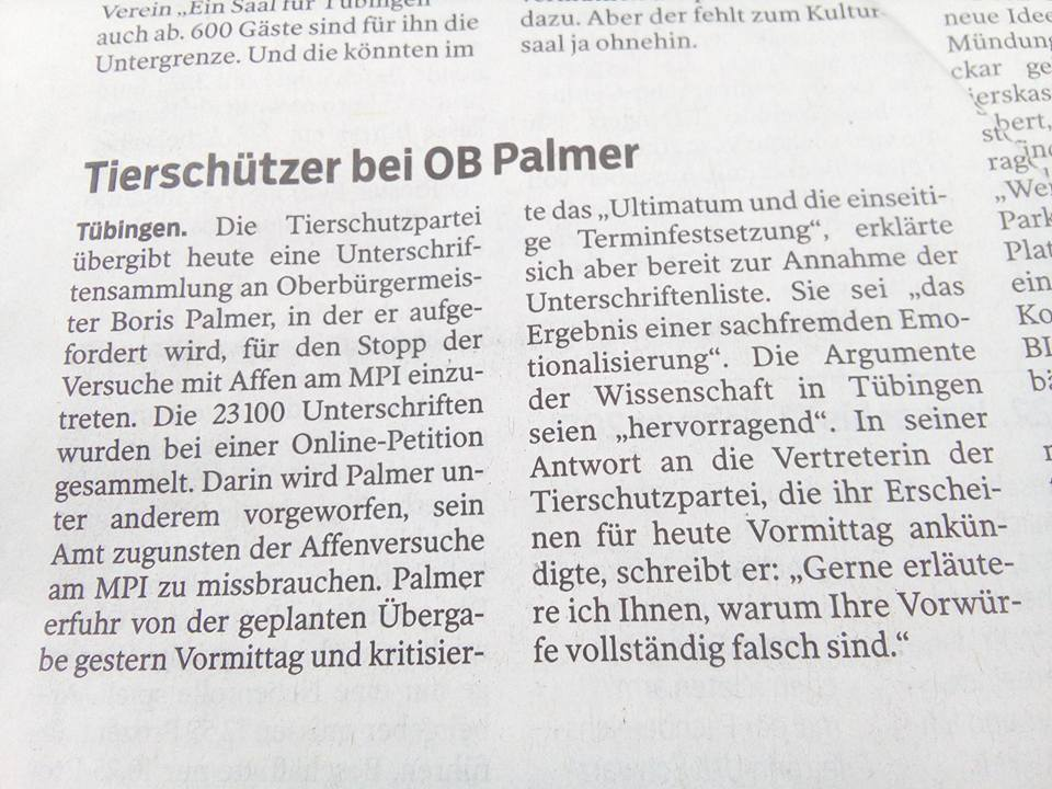 Artikel Schwäbisches Tagsblatt Boris Palmer
